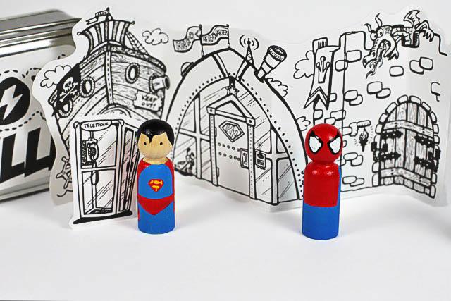 Paint Superman and Spiderman peg doll  via lilblueboo.com