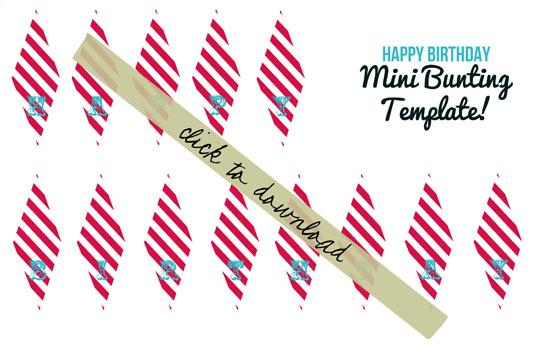 Happy Birthday mini bunting banner template - Circus theme