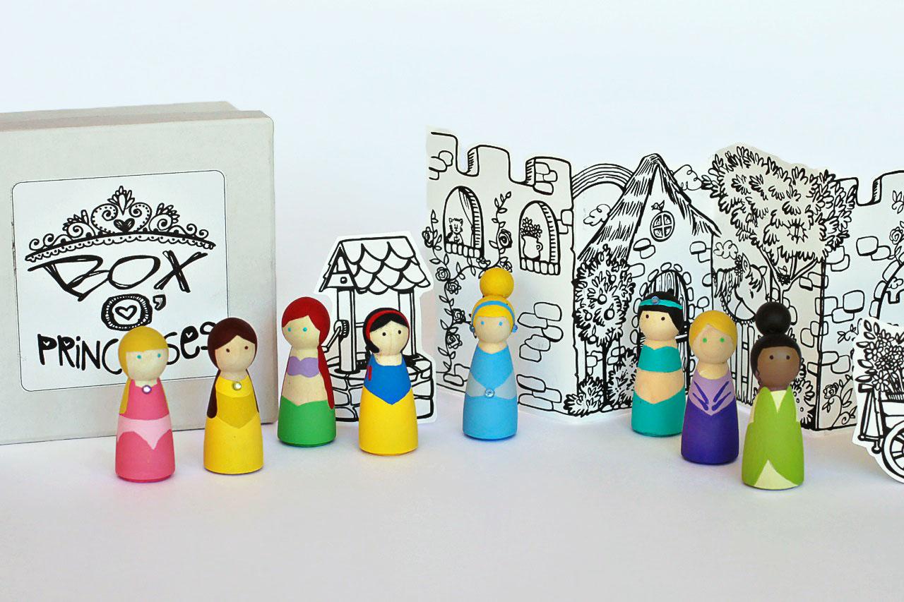 DIY Princess Peg Dolls and Super Hero Peg Dolls Valentines or Gifts via lilblueboo.com