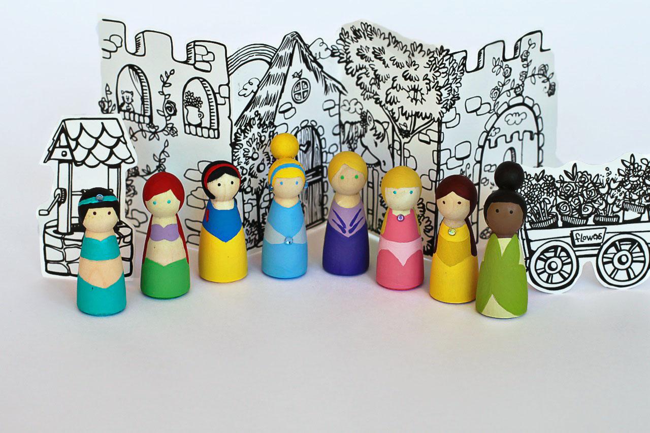 How to make princess peg dolls (free download) via lilblueboo.com