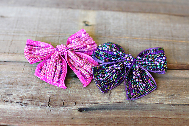 Beaded bows for headbands