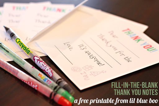 Free Printable Fill-in-the-Blank Thank You Notes