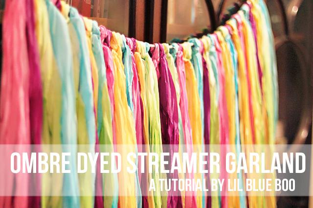 ombre fabric garland Ombre Dyed Streamer Garland - DIY Tutorial via lilblueboo.com