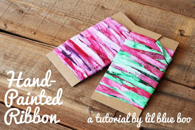 Hand Painted Ribbon and Recycled Wrapping via lilblueboo.com