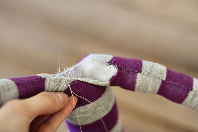 How to make a sock bunny - Step 8. DIY Tutorial via lilblueboo.com
