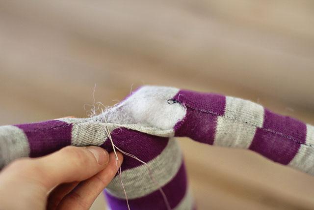 How to make a sock bunny - Step 8. DIY Tutorial via lilblueboo.com