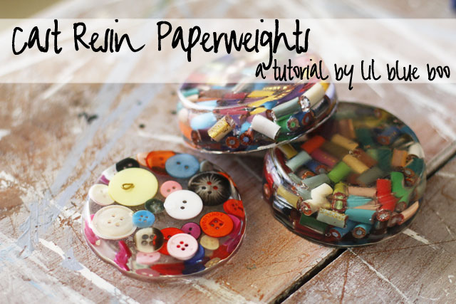 Cast Resin Paperweights & Coasters DIY Tutorial via lilblueboo.com