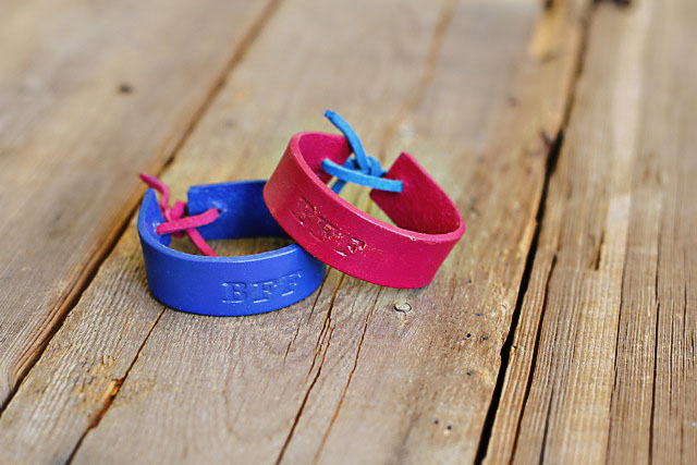 Stamped Leather Bracelets - small - DIY Tutorial via lilblueboo.com