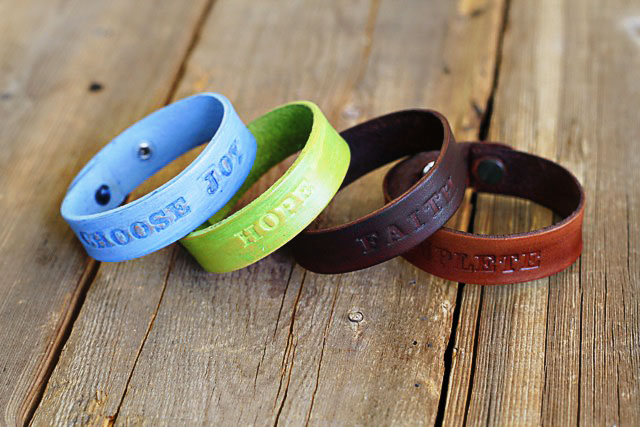 Stamped Leather Bracelets - all - DIY Tutorial via lilblueboo.com