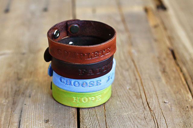 Stacked Leather Bracelets with Stamped Words -  DIY Tutorial via lilblueboo.com