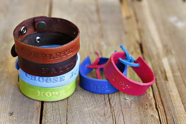 Stacked Leather Bracelet -  DIY Tutorial via lilblueboo.com