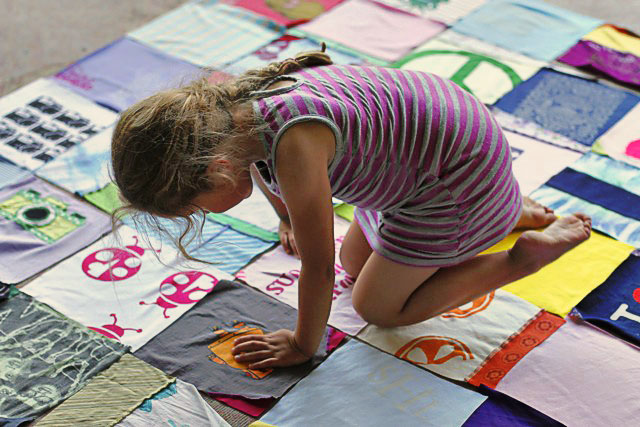 How to make a memory quilt from baby blankets, clothes and t-shirts. DIY tutorial 8 via lilblueboo.com