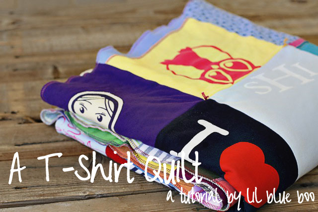 How to make a memory quilt from baby blankets, clothes and t-shirts. DIY tutorial via lilblueboo.com