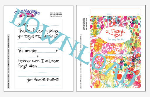 Free Printable Thank you Card Download for Teacher via lilblueboo.com