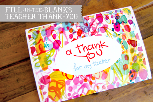 Fill-in-the-blank Thank you Card for Teacher free printable via lilblueboo.com