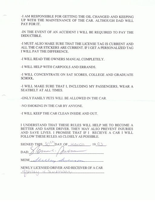 Teenager contract via liblueboo.com