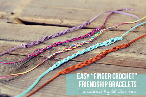 Easy Finger Crochet Bracelet DIY via lilblueboo.com
