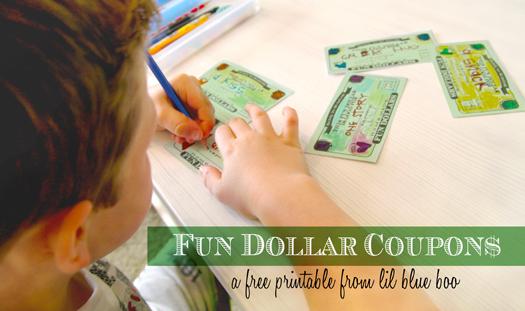 Fun Dollar Coupons Free Printable via lilblueboo.com