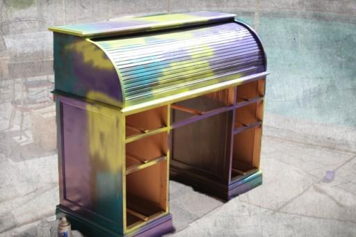 Spraypaint graffiti furniture tutorial process via lilblueboo.com