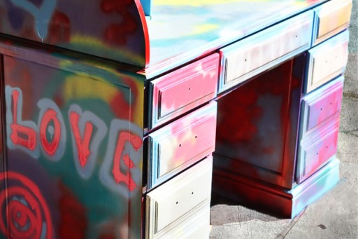 Spraypaint graffiti furniture tutorial process2 via lilblueboo.com