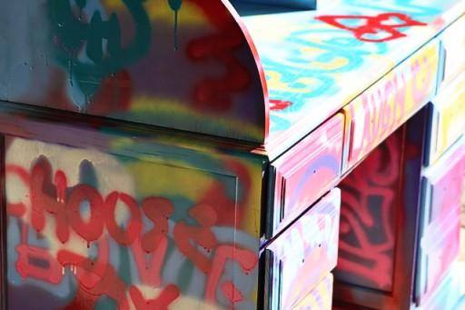 Spraypaint graffiti furniture tutorial process4 via lilblueboo.com
