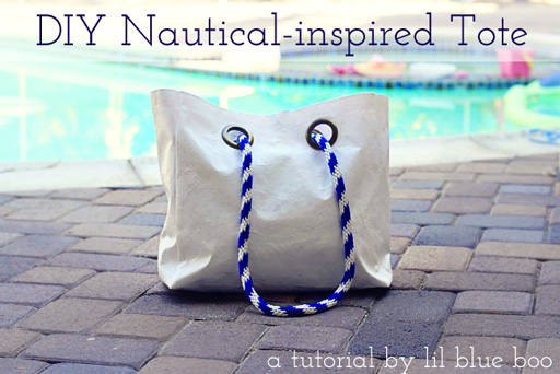 Nautical Inspired Altered Tote DIY Tutorial via lilblueboo.com