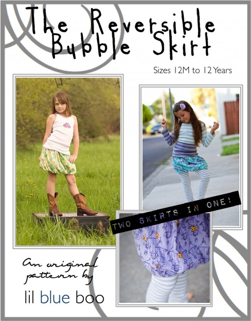 The Reversible Bubble Skirt PDF Pattern via lilblueboo.com