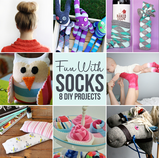 8 DIY Projects you can do with socks via lilblueboo.com