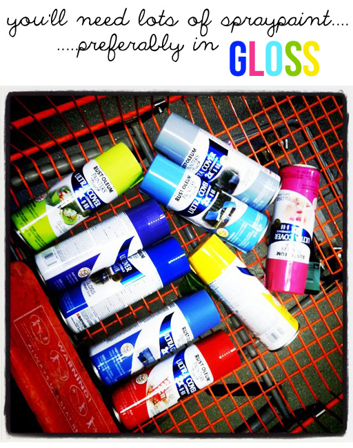 Spraypaint graffiti furniture tutorial supplies via lilblueboo.com