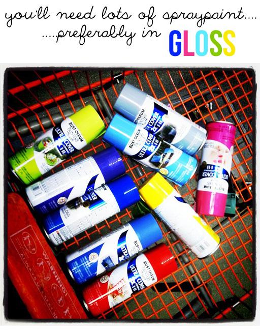Spraypaint graffiti furniture tutorial supplies via lilblueboo.com