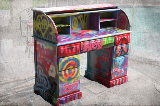 Spraypaint graffiti furniture tutorial4 via lilblueboo.com