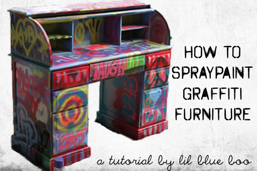 Spraypaint graffiti furniture tutorial via lilblueboo.com
