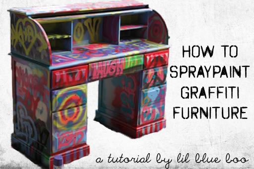 Spraypaint graffiti furniture tutorial via lilblueboo.com