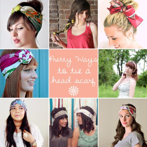 head scarf tutorial ideas via lilblueboo.com