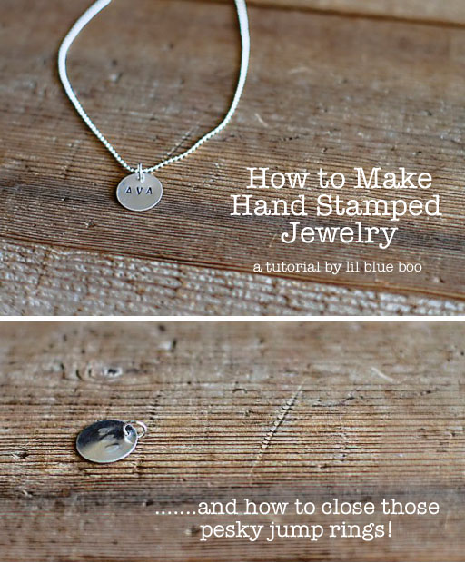How to Make Hand Stamped Jewelry via lilblueboo.com