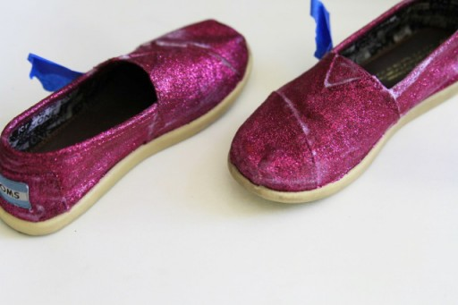 Paint Layer of Glitter on TOMS and dry via lilblueboo.com