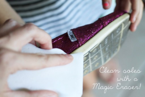 Revamp TOMS soles with Magic Eraser via lilblueboo.com #toms