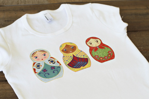Make a Matryoshka t-shirt transfer via lilblueboo.com