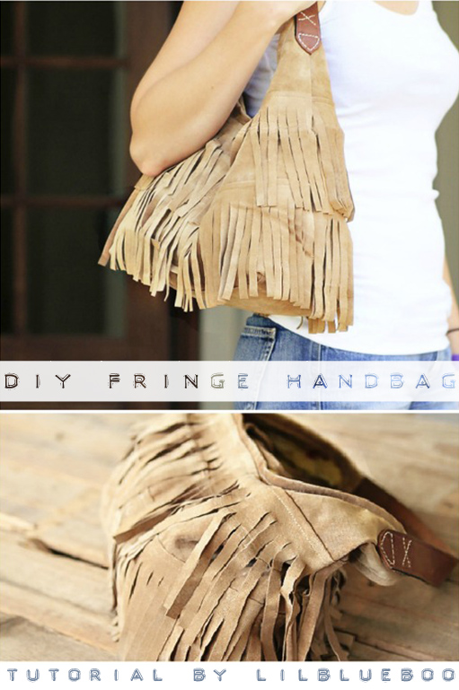 DIY Upcycled Suede Fringe Handbag Tutorial and Template via lilblueboo.com