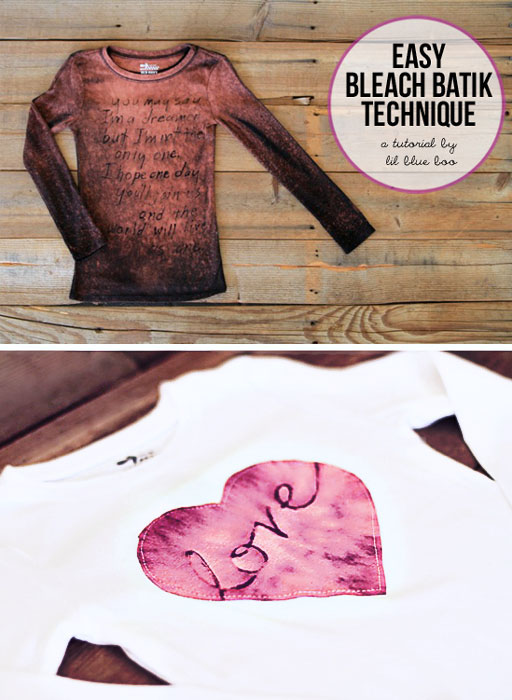 Easy Bleach Batik Technique via lilblueboo.com