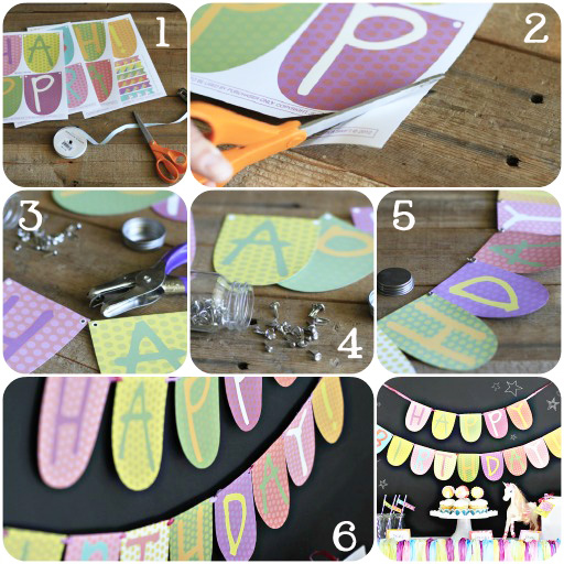 Party Printables: How to Make Party Banner via lilblueboo.com