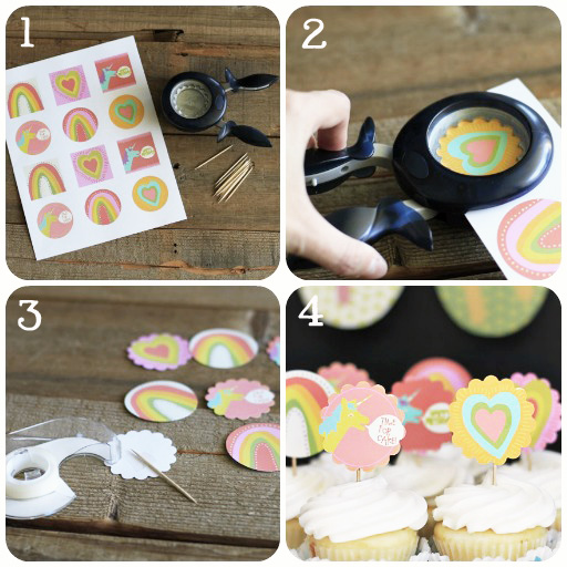 Party Printables: How to Make Cupcake Toppers via lilblueboo.com