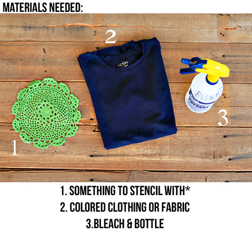 How to Stencil with Bleach (materials) via lilblueboo.com