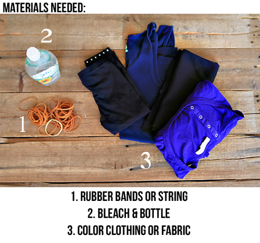 Tie Dye Clothing with Bleach (materials) via lilblueboo.com