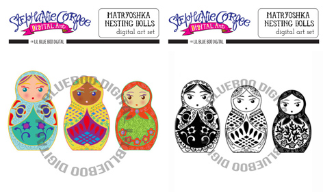 Matryoshka Russian Nesting Doll Graphics via lilblueboo.com