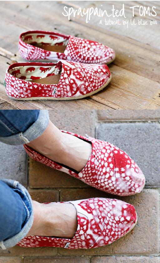 DIY Spraypainted TOMS via lilblueboo.com #TOMS