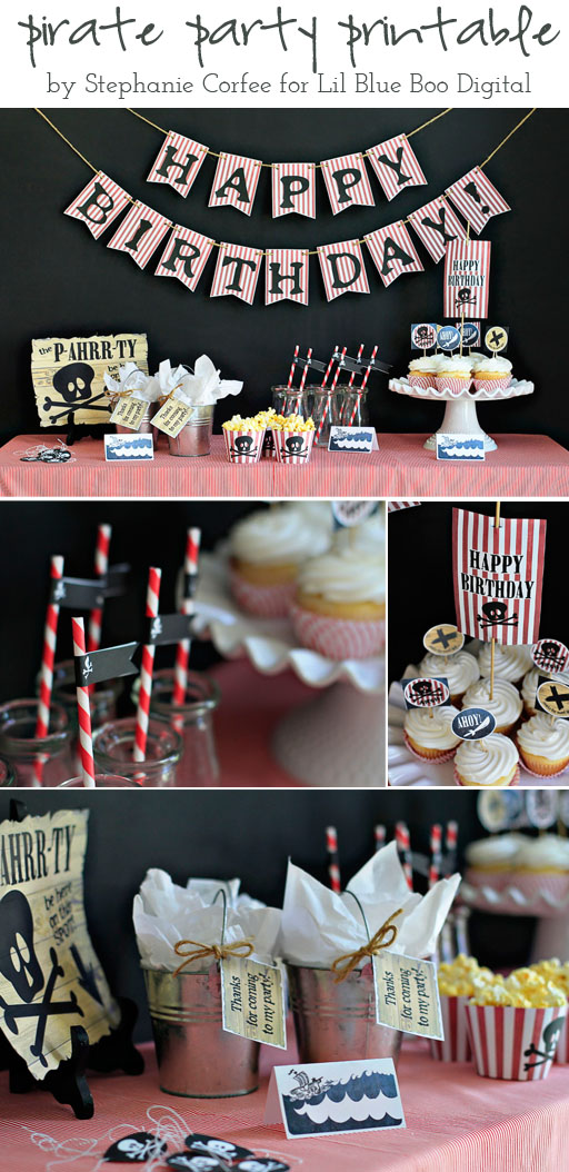 Pirate Party Printable by Stephanie Corfee via lilblueboo.com