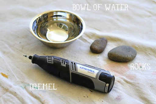 Materials needed to carve rocks with a Dremel via lilblueboo.com