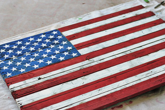 american flag on wood pallet 3