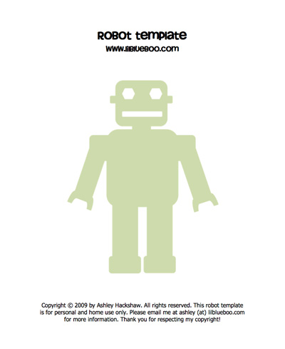 Robot template and freezer paper stencil tutorial via lilblueboo.com